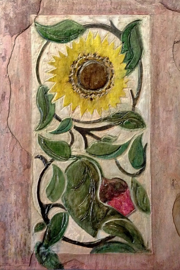 "Kitchen Backsplash Tile - ""Sunflowers"" CustomArt Nouveau Tile"