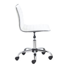 Btexpert   Swivel Mid Back Armless Ribbed Task Leather Chair, White  Upholstery And Chrome