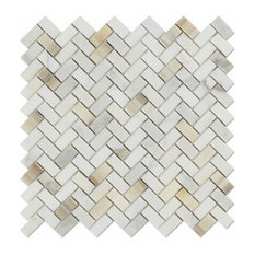 "12""x12"" Calacatta Maserati Marble Mini Herringbone Polished, Set of 10"