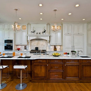 Traditional, Elegant  Kitchen Uses Exotic Stone, Leaded Glass and More