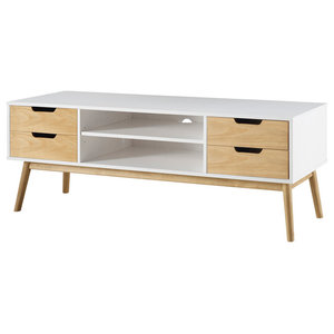 2-Tier Media Cabinet, White and Natural
