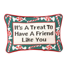 """Peking Handicraft, Inc. - 8""""x12"""" It's A Treat Needle Point Pillow, Blown in Filler - Holiday Decorations"""