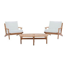 3 Piece Teak Wood Outdoor Chat Set