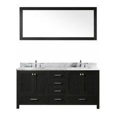 """Caroline Premium 72"""" Double Bathroom Vanity Set, Zebra Gray"""