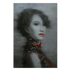 JOHN-RICHARD Painting Geisha Lady Monochromatic Bright Red