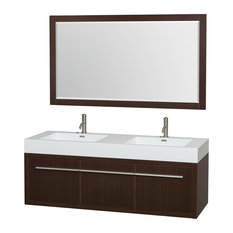 Wyndham Collection   Axa Wall Mounted Double Bathroom Vanity, Espresso, 60  Inch,