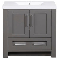 "36"" Vanity, Slate Gray Finish With White Cultured Top, Basin"