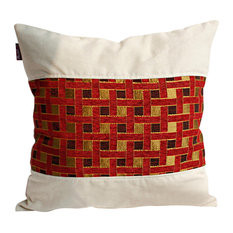 Folk Music Linen Stylish Patch Work Pillow Floor Cushion (19.7 by 19.7 inches)