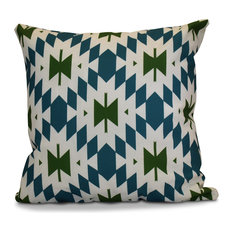 "Patna Geometric Print Pillow, Teal, 18""x18"""