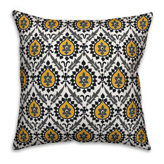 """Ikat, Black and Yellow Throw Pillow Cover, 20""""x20"""""""