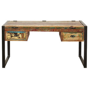 2 Drawer Urban Chic Reclaimed Wood Laptop Desk