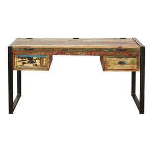 2 Drawer Urban Chic Reclaimed Wood Laptop Desk