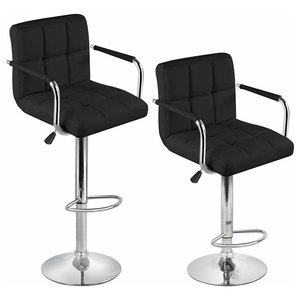 Modern Set of 2 Bar Stools Upholstered, Black PU Leather With Arm and Footrest