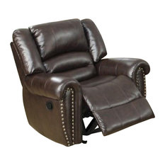 Bonded Leather And Plywood Recliner/Glider Brown