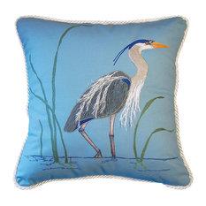 Rightside Design LLC - Blue Heron Applique Pillow - Decorative Pillows