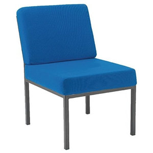 Contemporary Chair Upholstered in Blue Fabric With Padded Seat and Backrest