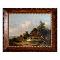 Cornelius Van Leemputten, Barnyard Scene, Oil on Linen Mounted to Masonite