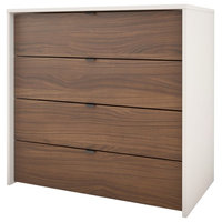 Nexera 212403 4-Drawer Chest, White and Walnut