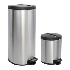 Happimess Oscar 30L and 5L Step-Open Trash Cans, 2-Piece Set, Silver