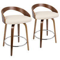 Grotto Counter Stools With Swivels, Set of 2, Walnut Wood, Cream Pu, Chrome