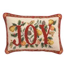 "Peking Handicraft, Inc. - 10""x14"" Joy Needle Point Pillow, Blown in Filler - Holiday Decorations"