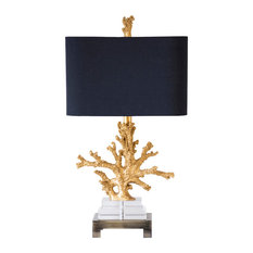 """Gold Coral Table Lamp, 25.5""""H"""