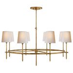 """Visual Comfort - Bryant Large Ring Chandelier, Hand-Rubbed Antique Brass - Bryant Large Ring Chandelier in Hand-Rubbed Antique Brass with Natural Paper Shades - Finish: Natural or Antique Brass, Shade Description: 4"""" x 5.5"""" x 6"""" Natural Paper, Finish: Natural or Antique Brass, Shade: 4"""" x 5.5"""" x 6"""" Natural Paper, Designer: Thomas O'Brien, Function: Chandelier, Style: Modern, Backplate: N/A, Socket: 8 - E26 Keyless, Wattage: 8 - 40 A, Mounting: Rod, Bulb Shape: A, Note: Cannot Be Modified in the Field   Customization Available"""