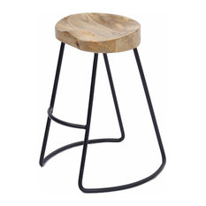 The Urban Port Brand Attractive Wooden Barstool With Iron Legs, Short