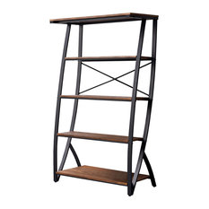 Ascent 5 Tier Shelves Etagere Bookcase, Brown Wood and Black Metal