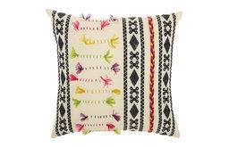 "18""x18"" Mina Victory Life Styles Textured Patterns Cream Throw Pillow"