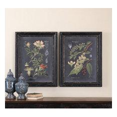 "Uttermost ""Midnight Botanicals"" 2-Piece Wall Art Set, 24.63""x32.63"""