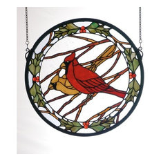 """15""""Wx15""""H Cardinals & Holly Medallion Stained Glass Window"""