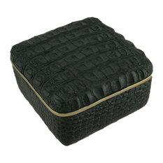 Elegant Green Alligator Skin Texture Square Trinket Box