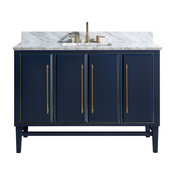 "Mason 49"" Vanity Combo, Navy, Matte Gold, 1"" White Marble Countertop, Backsplash"
