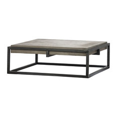 "42"" Milena Coffee Table Lightweight Concrete Square Black Iron Frame Grey"