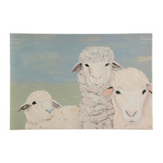 Sheep Art, Canvas Print with Handpainting
