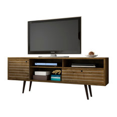"""Liberty 70.86"""" Mid Century-Modern TV Stand With 4 Shelving Spaces and 1 Drawer,"""