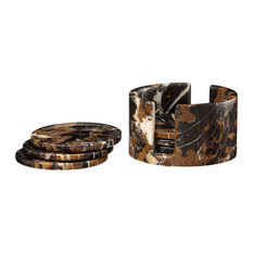 Dionysus Collection Black and Gold Marble 6 Piece Coaster Set w/Caddie, Black an