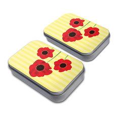 Red Poppies Flower Tin Set