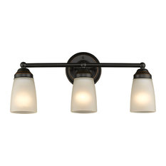 Hemsworth 3-Light Vanity Fixture White Frosted Glass, Bronze Bath