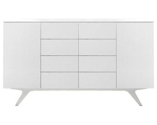 Arctic 40 Sideboard 2D & 8L, Vit/Vita Träben - Opbevaringsskabe