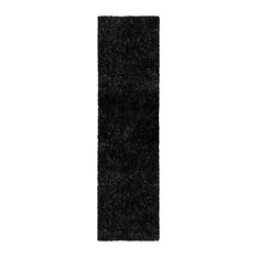 Collection Hand Woven Shag Rug 2.25' x 11'- black