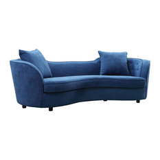 Armen Living   Palisade Contemporary Sofa With Brown Wood Legs, Blue   Sofas