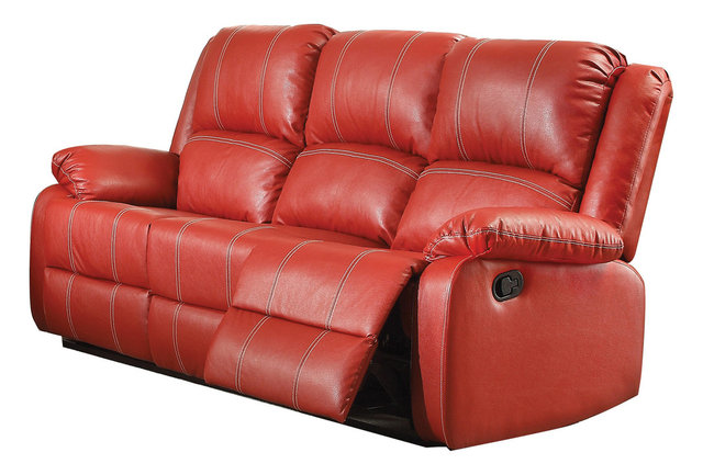 Red Leather Recliner Sofa Contemporary Sofas By