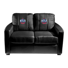 New Orleans Pelicans NBA Silver Love Seat With NOLA Logo Panel