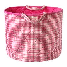 Pink Gingham Toy Basket