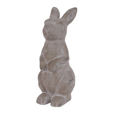 Cement Sitting Upright Rabbit Figurine With Hands in Front, Concrete Finish Gray