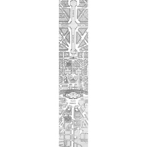 Map of Versailles Wallpaper, Black and White, 48x250 cm