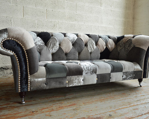 Modern Gray Chesterfield Sofas Walton Patchwork Chesterfield Sofa
