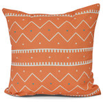 E byDesign LLC - Mudcloth, Geometric Print Outdoor Pillow,Orange,20  x 20 inch - Styling your home has never been so easy! You're bound to adore the atmosphere brought to your home with these stunning weather resistent outdoor pillow designs. With an array of colors and patterns, E by Design's Beach Brights collection will transform your home with its' trend-setting appearance!